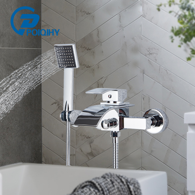 Chrome Bathtub Faucet Brass Wall Mounted Waterfall tub Spout Bathroom Shower Faucets Crane With hand shower Cold Hot mixer Taps