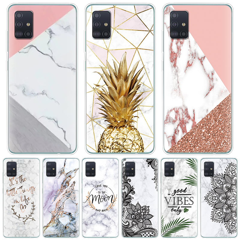 Marble Pineapple Soft TPU Phone Case For <font><b>Samsung</b></font> Galaxy A51 A50 A90 A80 A70 A71 A60 A40 A30 A10 A9 <font><b>A8</b></font> A7 A6 Plus <font><b>2018</b></font> Coque Etui image