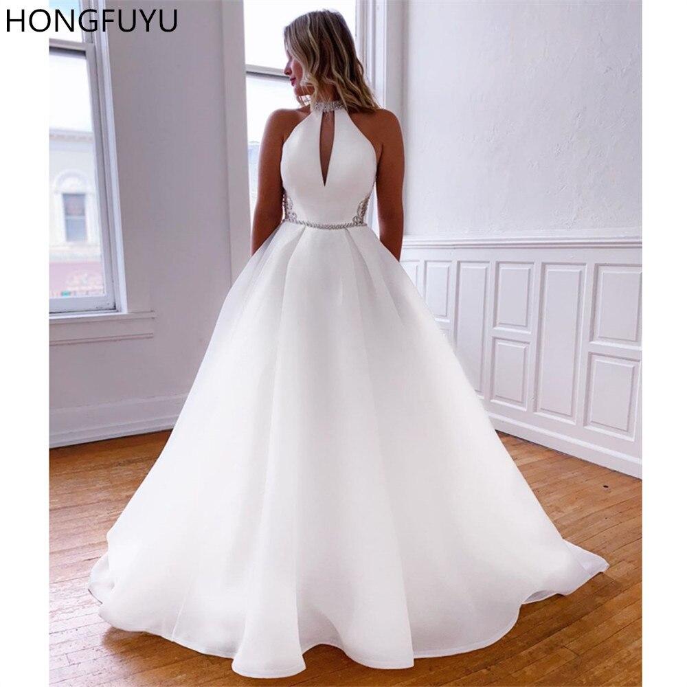 HONGFUYU A hattı beyaz organze gelinlik 2021 basit Heyhole yüksek boyun kristaller gelinlikler robe de mariage cepler ile