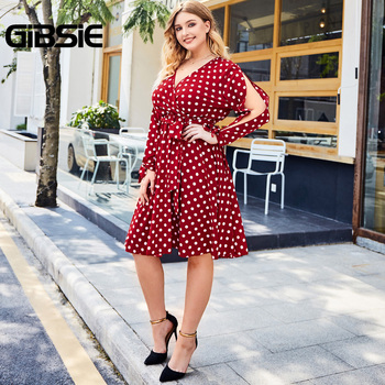 GIBSIE Elegant V-neck Slit Sleeve Polka Dot Dress Women Plus Size High Wasit Midi Dresses Autumn Office Ladies A-Line Dress
