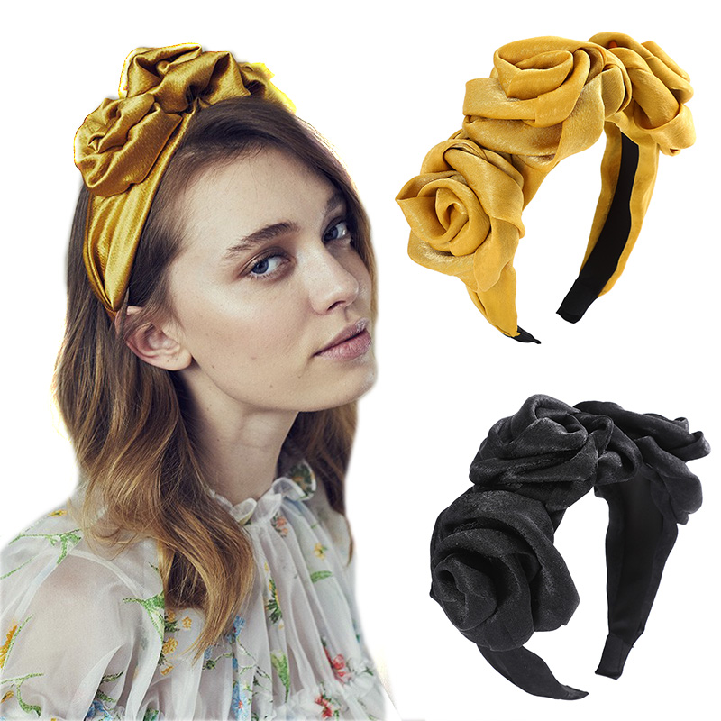 Haimeikang Floral Sharp Bezel Women's Fashion Solid Color Headband Satin Head Hoop Large Flower Holiday Hair Accessories