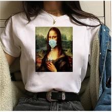 Mayos Women's T-shirt Mona Lisa Mask Aesthetic Harajuku T-shirt Ladies Ullzang Retro Graphic T-shirt Funny 90s Cartoon T-shirt