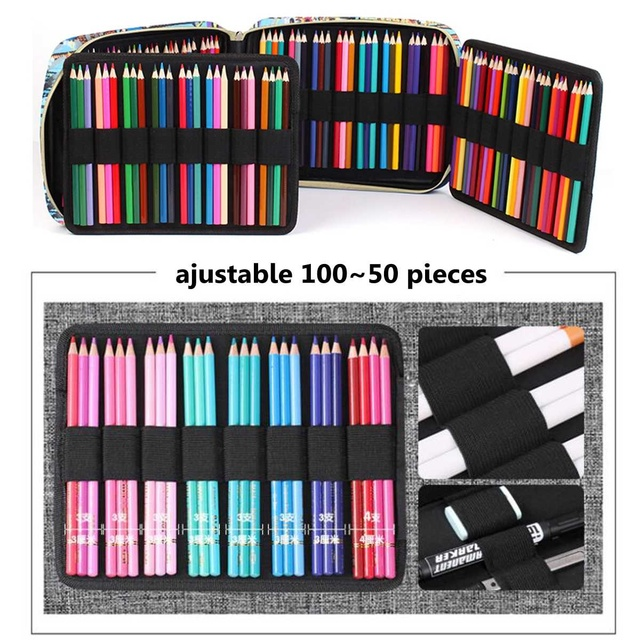 150 Slots Cute Cartoon Animal Pencil Bag Large Capacity Pen Case Storage Students Box Drawing Painting Tool Pouch Art Supplies