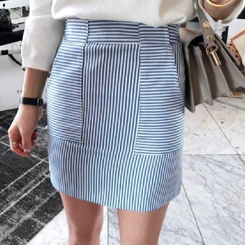 DeRuiLaDy 2019 New Fashion Women Elegant Skirt Slim Sexy High Blue Waist Striped Kawaii Mini  Skirts Womens Office Pencil Skirt