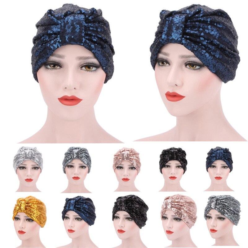 Шапочка с блестками многоразовая женская, мусульманский двусторонний головной убор с пайетками, шарф для волос в стиле хиджаба, кепка для с...