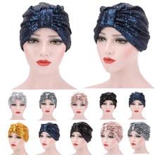 Bonnet à paillettes brillantes, chapeau Turban réutilisable pour femmes musulmanes, couvre-tête réversible, Hijab, écharpe de cheveux, Bonnet de nuit, chapeau de sommeil, fleur