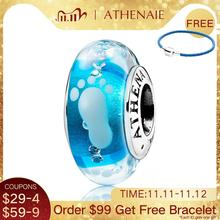 ATHENAIE New 925 Sterling Silver Baby Footprint Murano Glass Beads Blue Charms fit Charms Bracelets & Necklaces Jewelry Making