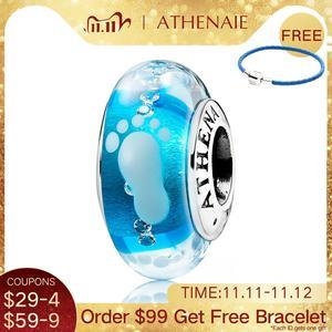 Image 1 - Athenaie novo 925 prata esterlina bebê pegada murano contas de vidro azul encantos caber encantos pulseiras & colares jóias fazendo