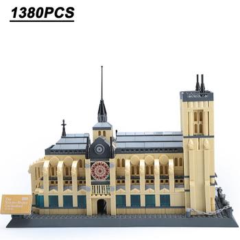 1380 sztuk budynek katedra Notre Dame budowanie miasta klocek Skyline Model prezent zabawka dla dzieci prezent dla dzieci tanie i dobre opinie 12 + y 4-6y 7-12y CN (pochodzenie) inne Unisex Micro building block Big building block( 1cm) Z tworzywa sztucznego Samozamykajcy cegły