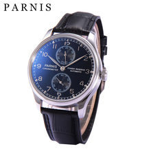 цена на 43mm Parnis Mens Mechanical Watches Wrist Watch Men Automatic Power Reserve Black Dial Watch Male relogios Waterproof