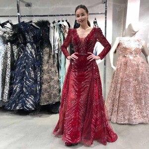 Image 1 - חדש הגעה דובאי יין אדום קטיפה ערב שמלות ארוך שרוול אלגנטי V צוואר יהלומי חרוזים פורמליות ערב שמלת סעודיה