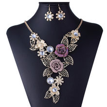 Bohemian Flower Jewelry Sets For Women Valentines Day Gift Fashion Crystal Necklace set Party Indian African Jewelry Sets(China)