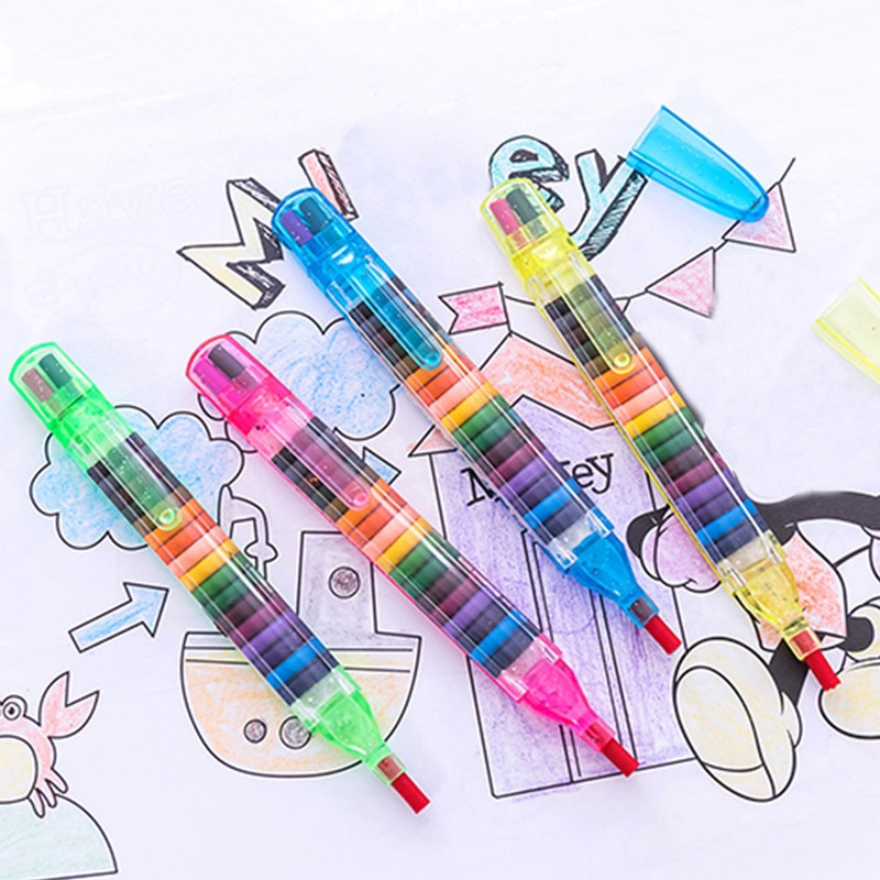 Warmom Kids Educational Painting Toys 20 Color Wax Crayon Baby Funny Creative Educational Oil Pastel Graffiti Pen Random Color