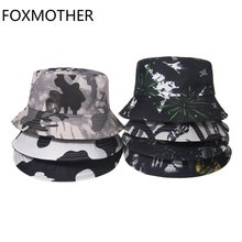 FOXMOTHER New Fashion Punk Black White Cow Graffiti Bucket Hats Outdoor Fishing Caps Gorras Men Summer 2021 Hip Hop Bob