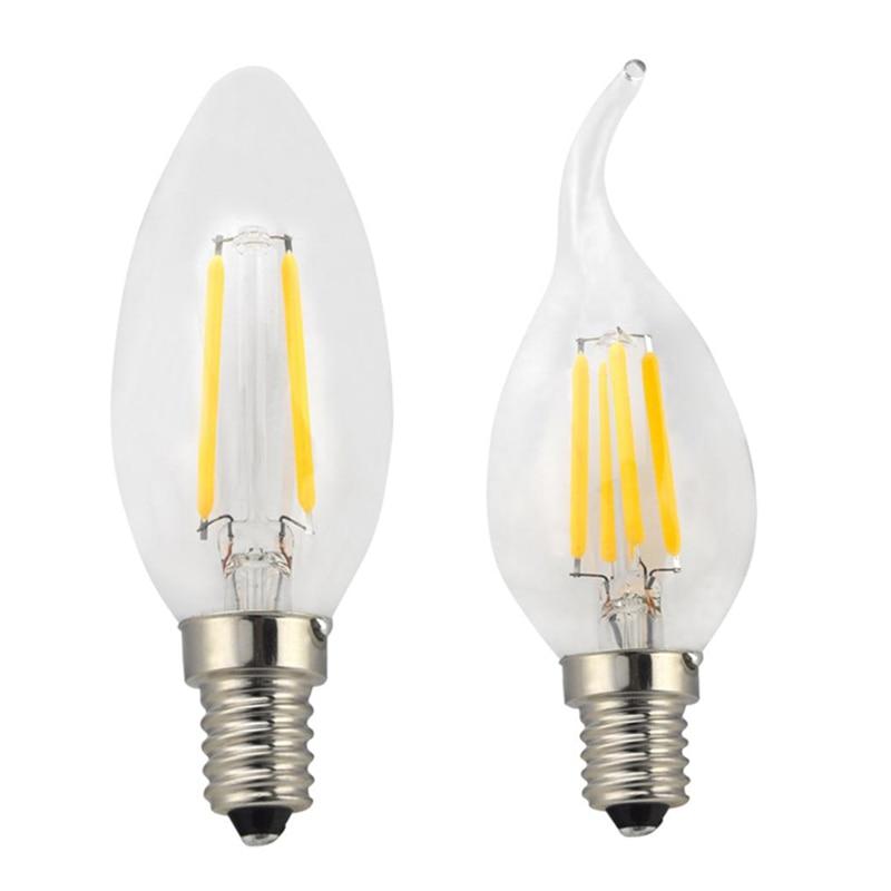 Затемнения светодиодный светильник C35 C35L лампы в форме свечи лампы E14 4 Вт 8 Вт 12 Вт 220 В Ретро Античная Стекло Эдисон лампы Винтаж светодиодны...
