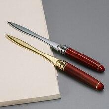 1pcs Wood Handle Letter Opener Stainless Steel cut paper Knife Split file envelopes