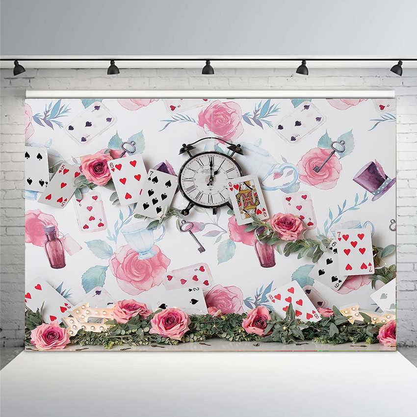 التصوير خلفية بطاقة ساعة زجاجة الزهور والنباتات سنة واحدة الطفل BirthdayTheme خلفية المهنية استوديو الصور