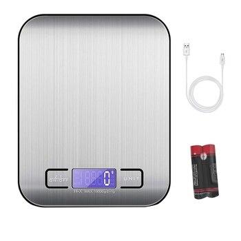 Цифровые кухонные весы, пищевые весы 10 кг/1 г, кухонные весы из нержавеющей стали с зарядкой от Usb, жк-дисплей с подсветкой