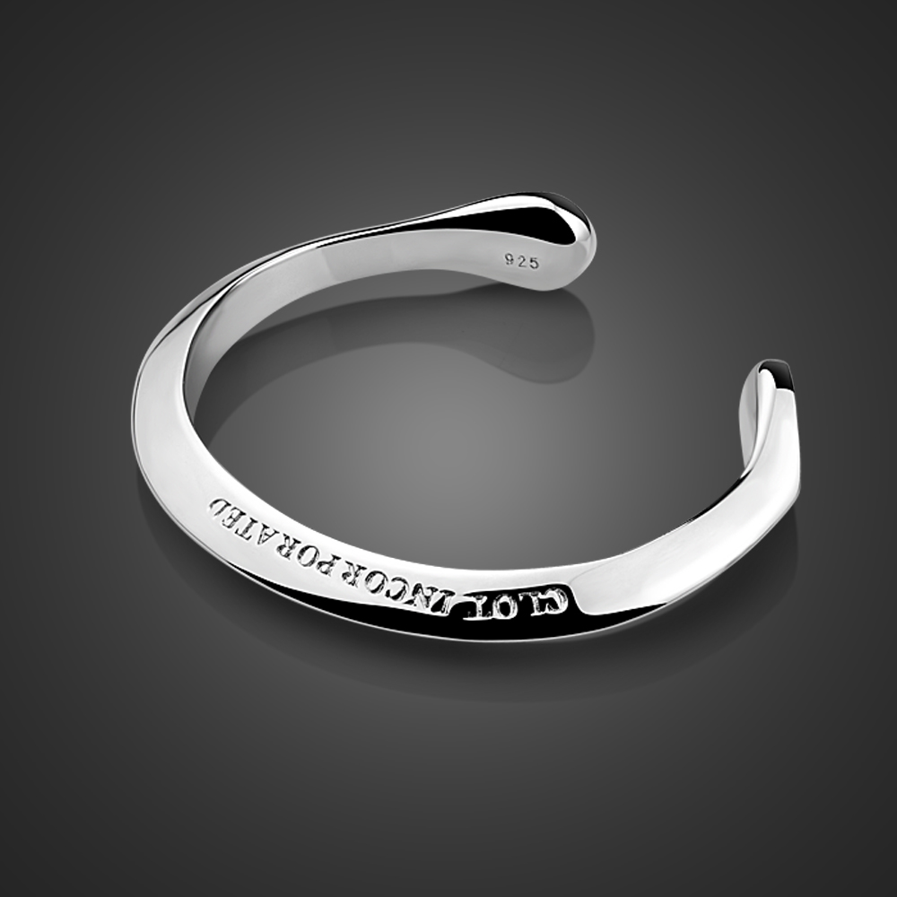 Wholesale New 100%925 Silver Fashion Punk Bracelet For Women Bangles Charms Men Pulseira Couples Jewelry Gifts