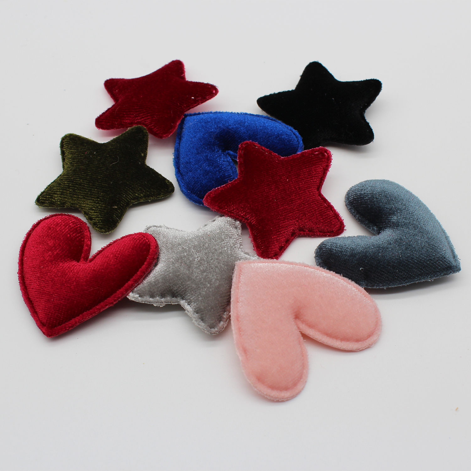 4.8cm Felt Star Heart Shape Padded Appliques For Brooch Headwear BB Clip Accessories and DIY Kid Patches