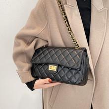 Nowa luksusowa krata diamentowa torba na ramię dla kobiety elegancka czarna torba kurierska ze skóry Pu kobieta klapa pikowana torebka na pasek łańcucha tanie tanio FLAP Torby na ramię Na ramię i torby crossbody CN (pochodzenie) klamerka HARD wytrzymała torba Na co dzień wyf0303 POLIESTER