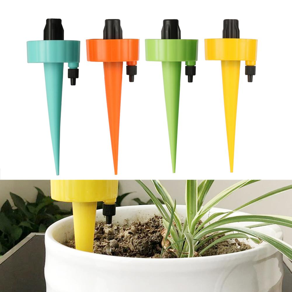 Drip Irrigation System Plant Waterers DIY Adjustable Self Watering Spiked Taper Dripper Automatic Drip Watering Device 4 Pcs
