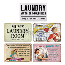 Laundry Sign Vintage Tin Sign Plaque Metal Vintage Retro Metal Sign Wall Decor For Laundry Room Wall Stickers Iron Painting