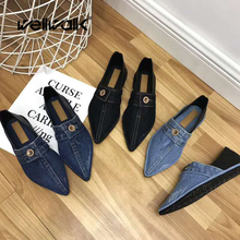 Wellwalk Women Loafers Denim Ladies Moccasins Shoes Ballet Flats Pointed Toe Female Ballerinas Slip On