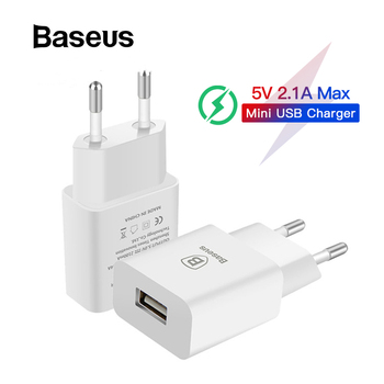 Baseus 5V 2.1A EU Plug Mini USB Charger for Samsung Xiaomi Mobile Phone Charger Adapter Travel Wall Charger for iPhone Charger