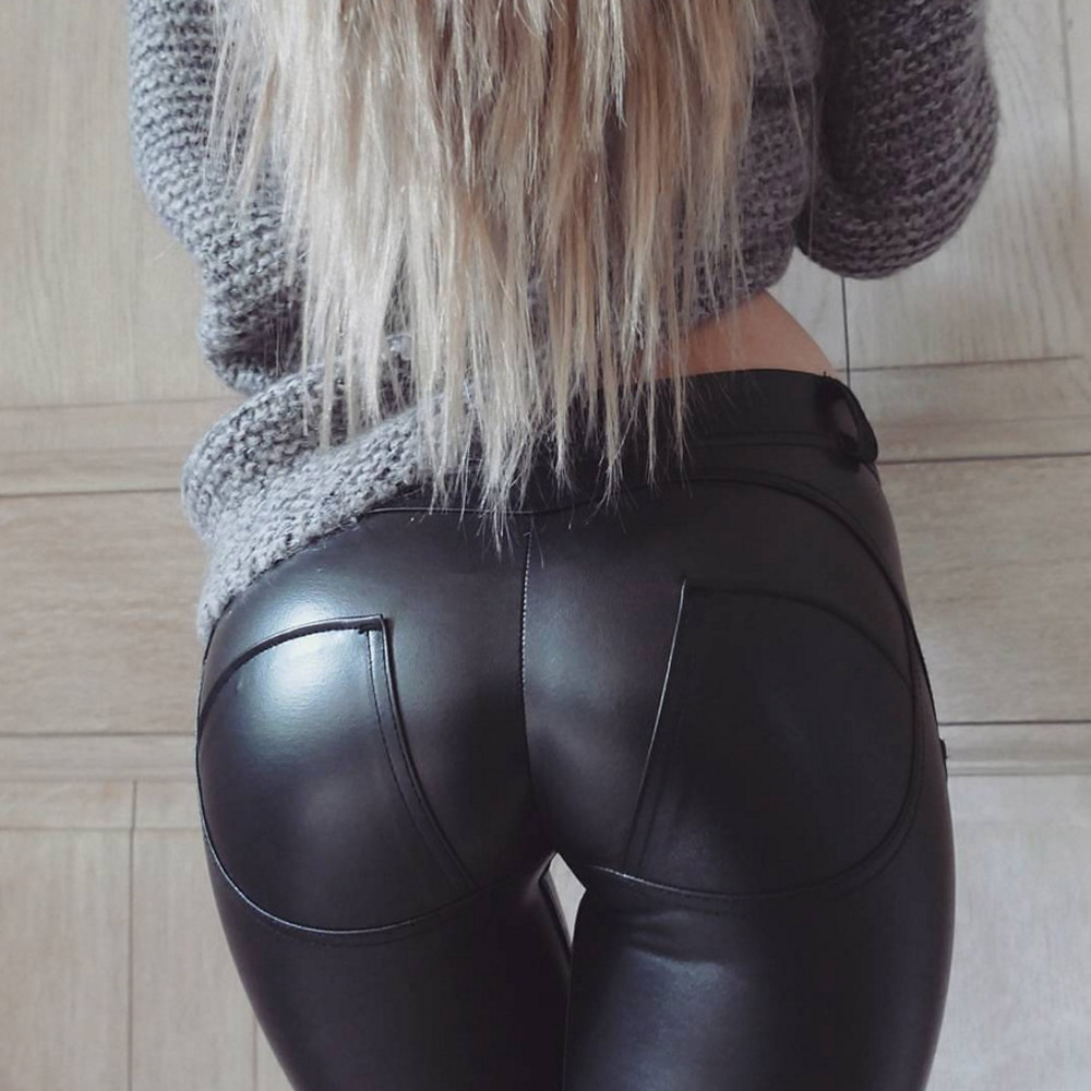 Faux Pu Leather Leggings Thick/Black/Push Up/High Waist Leggings Women Plus Size Winter Legging Sexy Pants Women Leggins