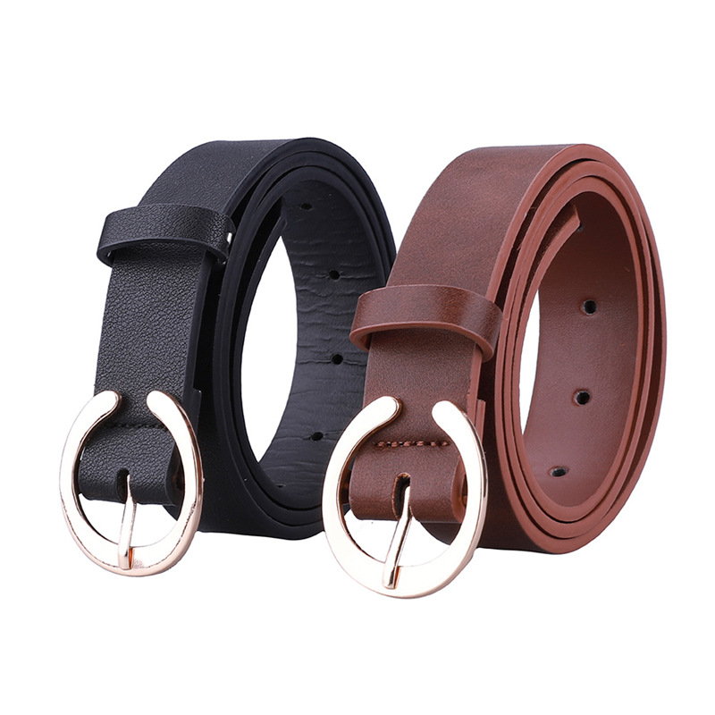 Women's Accessories Jeans Pin Buckle Lettered Leather Belt Simple Fashion Fashion C- Shaped Buckle Decoration Belt