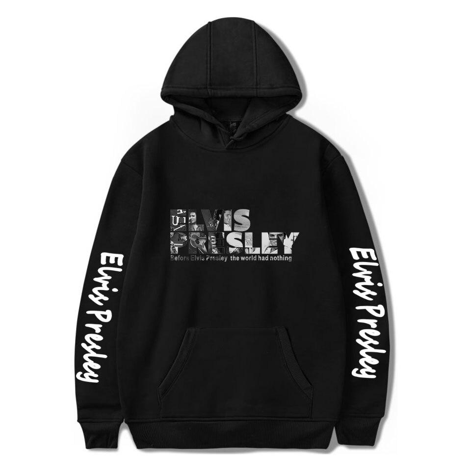 New Printed Elvis Presley Hoodies Men Women Hot Singer Hoodies Sweatshirt Love Pullovers Winter Elvis Presley Black Hoodie Men