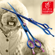 Fenice 7.5/8.0 inch Professional Pet Grooming Scissors for Puppy Dogs Japan 440C Blue Shear
