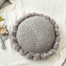 Pillow Sofa Decorative Back-Cushion Boho Filling Round for Bedding Handmade