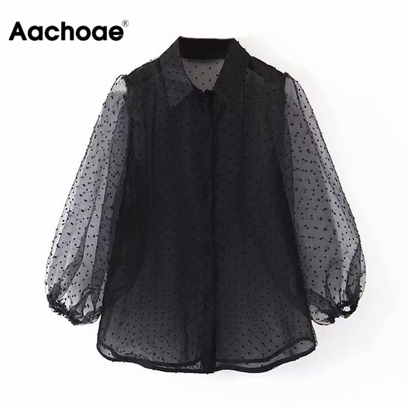 Dots Embroidery Women Elegant Organza Blouse 2020 Lantren Sleeve Black See Through Chic Top Casual Turn Down Collar Shirt Blusas