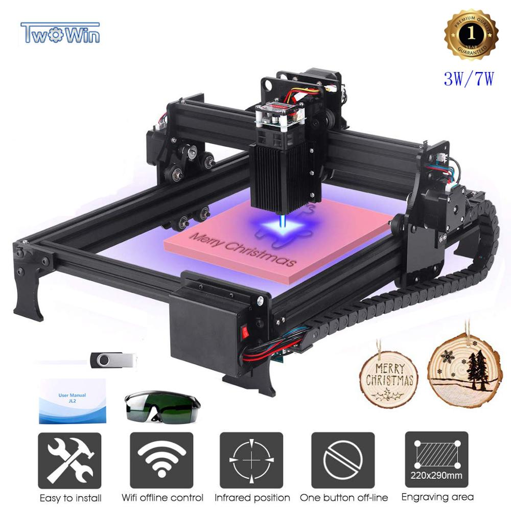 3W/7W Upgrade Laser Engraver CNC Engraving Machine DIY Router Printer Supporting Computer/Offline/Bluetooth Control Area 29*22cm