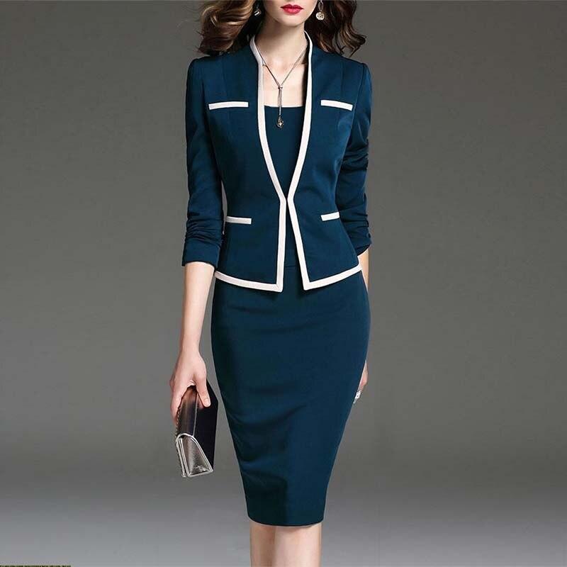 Костюм для женщин Bodycon платье куртка 2 шт набор Офисная одежда пиджак платье 2019 весна осень женские платья костюмы размер 6XL рубашки