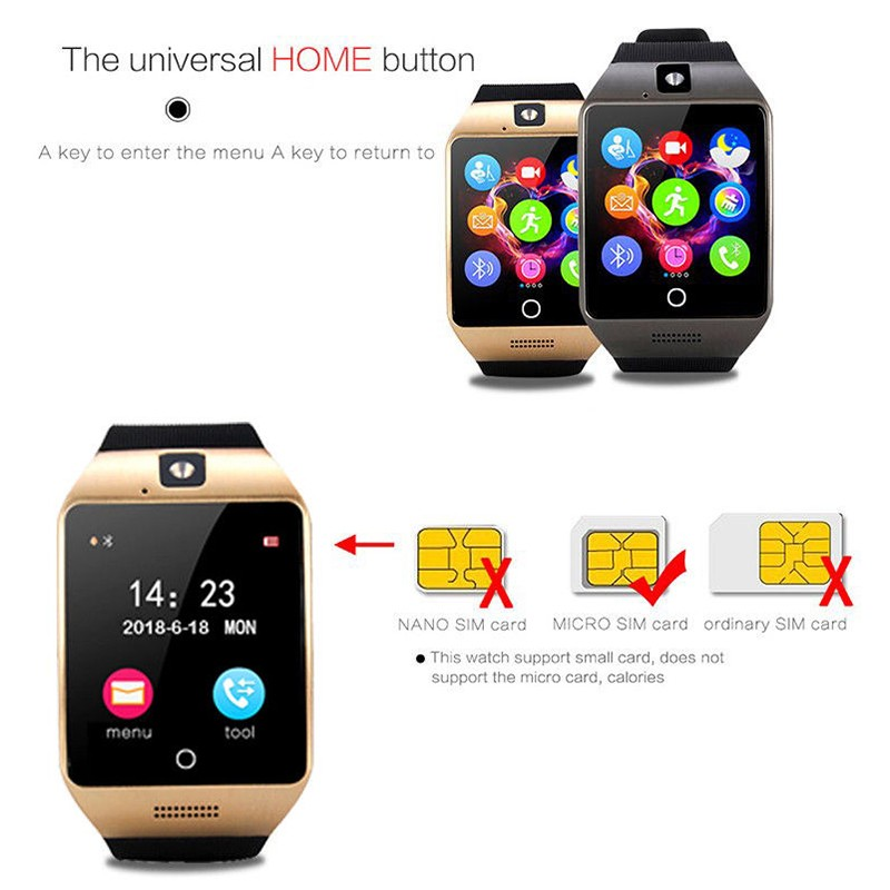 H42e7ba7514394c23b3bab18c31d182ac7 Q18 Digital Touch Smart Watch With Sim Call Bluetooth Call Square Smartwatch Fit Watch Sport Pedometer Whatsapp Bracelet