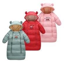 Sac de couchage pour bébé, en duvet de canard, à manches longues, épais, en velours, avec capuche, pour nouveau-né, garçon et fille, de 0 à 18 mois, hiver