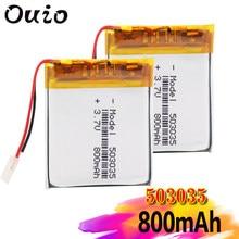 Baterias recarregáveis do lipo do íon de li po do volt de 3 7v para a navegação de gps de dvd 1/2/4 pces 503035 3.7v 800mah do polímero do lítio