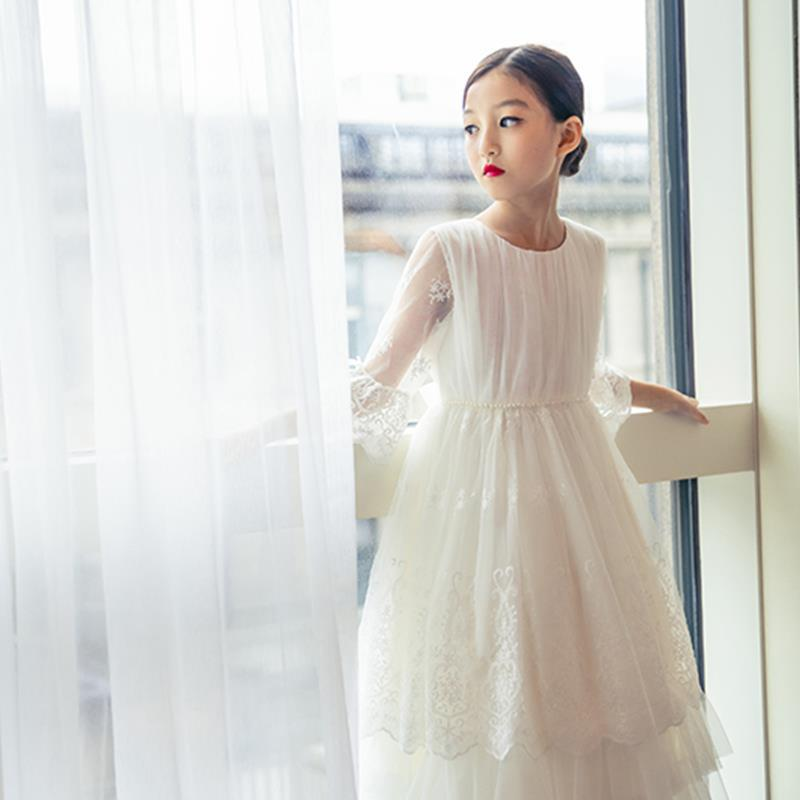 Formal Elegant Teenager Lace Girls Dress 2019 Wedding Party Kids Dresses Evening Long Prom Gown Vest Sash Vestido White Frocks