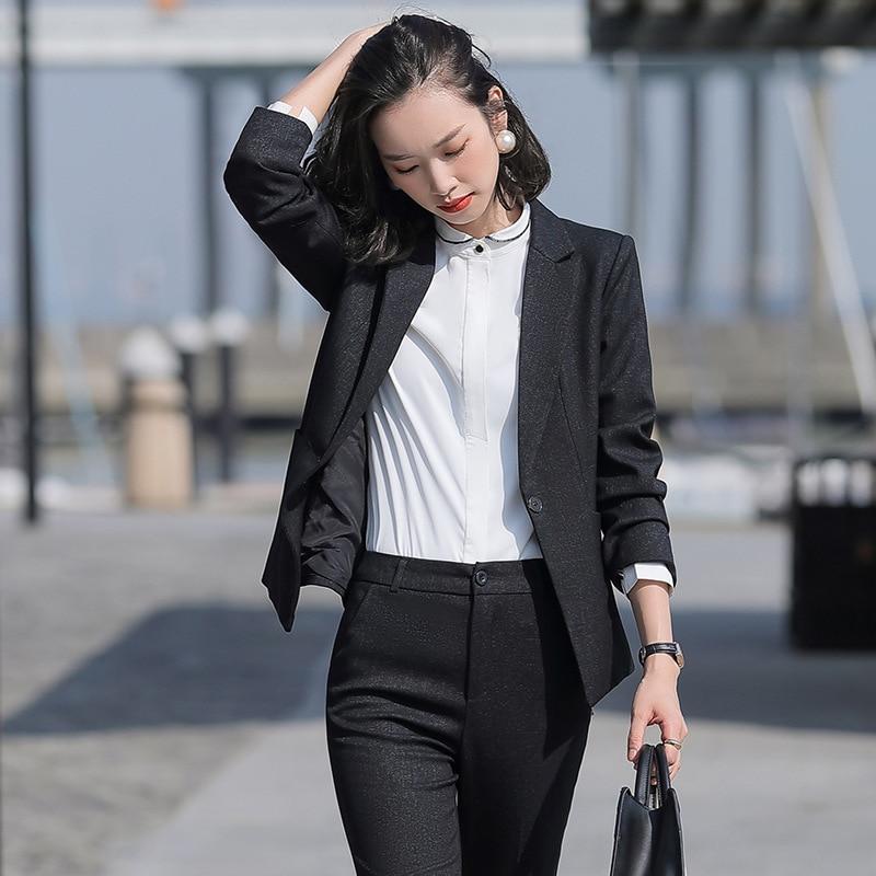 Black Formal Skirt Suits Women Business Work Jacket  Set Fashion Blazer Office Lady OL Female Clothing Long Sleeve 2 Piece Set