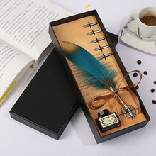 Personality Design Spray Gold Leaf Bar Office Stationery Set Student Teacher Writing Feather Pen High Quality Stainless Steel Pe
