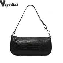 Retro Alligator Skin Pattern Female Small Handbags Short Strap Shoulder Bags Phone Purse Baguette Bag High Quality PU Leather