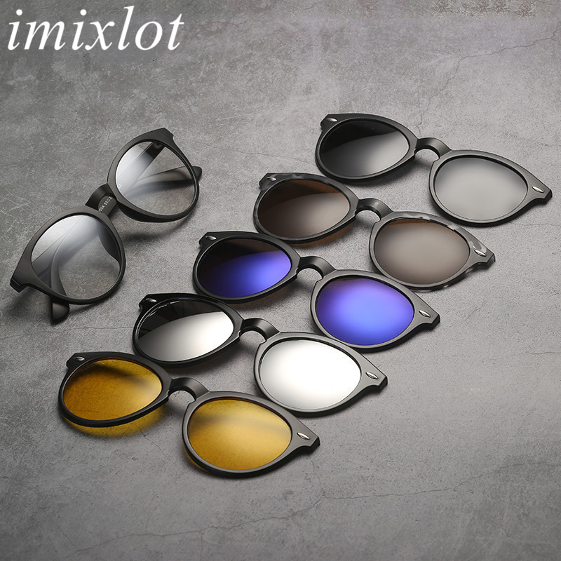 Imixlot Newest Fashion Classic <font><b>5</b></font> in 1 Fashion <font><b>Clip</b></font> On Round <font><b>Sunglasses</b></font> Unisex <font><b>Magnet</b></font> Clear <font><b>Lens</b></font> Polarized Sun Glasses Set image