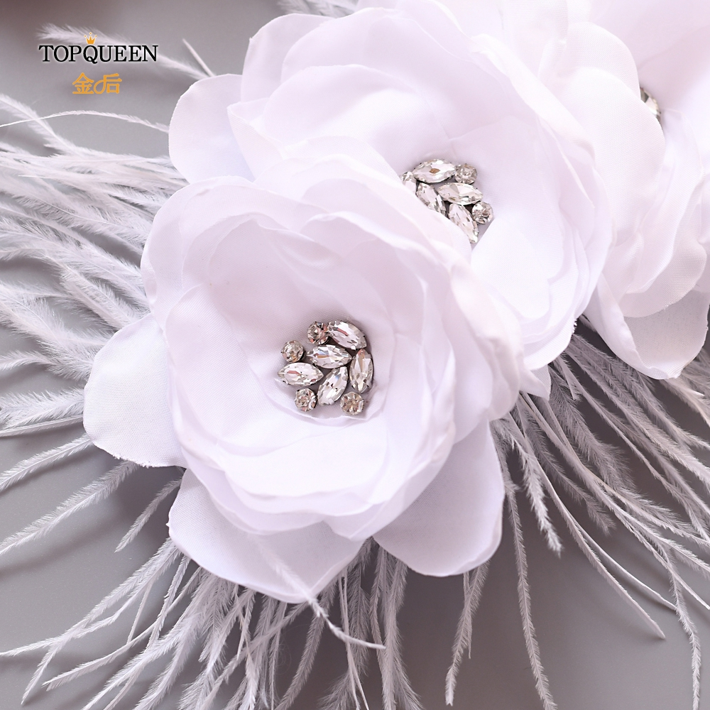 TRENDY WHITE WEDDING DRESS BELT SASH FLOWER FEATHER BRIDAL WAISTBAND
