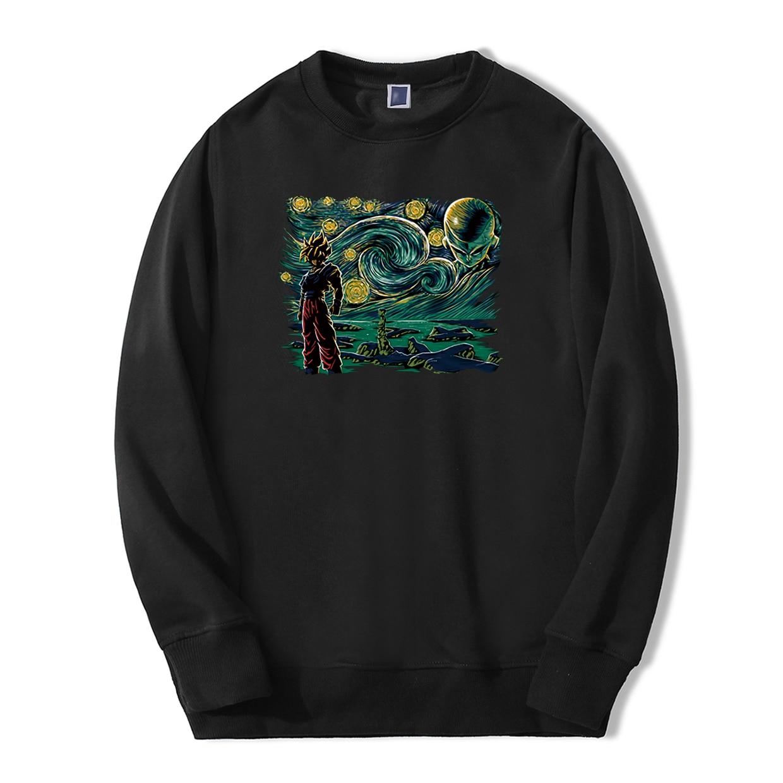 New Arrival Dragon Ball Van Gogh's Saiyan Men's Sweatshirt Warm Fleece Sweatshirts Hoodie Men Harajuku Anime Hip Hop Streetwear