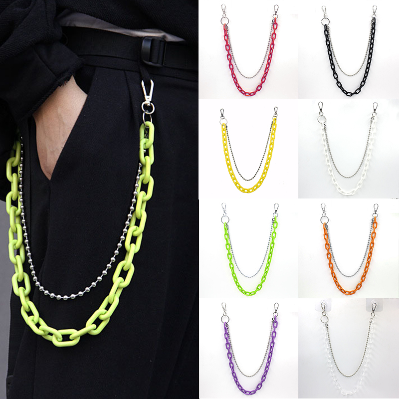 2020 Trend Punk Hip-hop Green Plastic Acrylic Resin Chain Cashew Flower Pants Chain Hanging Chain Tidal Wave Belt