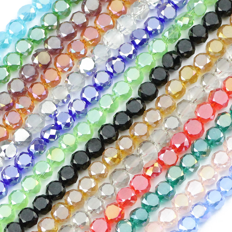 JHNBY Bread Shape Austrian Crystal 50pcs High Quality 5*8mm Matte Glass Flat Round Loose Beads For Jewelry Making Bracelets DIY