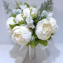 Peônia Flores De Seda Artificial Buquê de casamento Buquês de Noiva Damas de Honra Bouquets de Casamento Da Noiva Bouquet Buque de noiva GC5